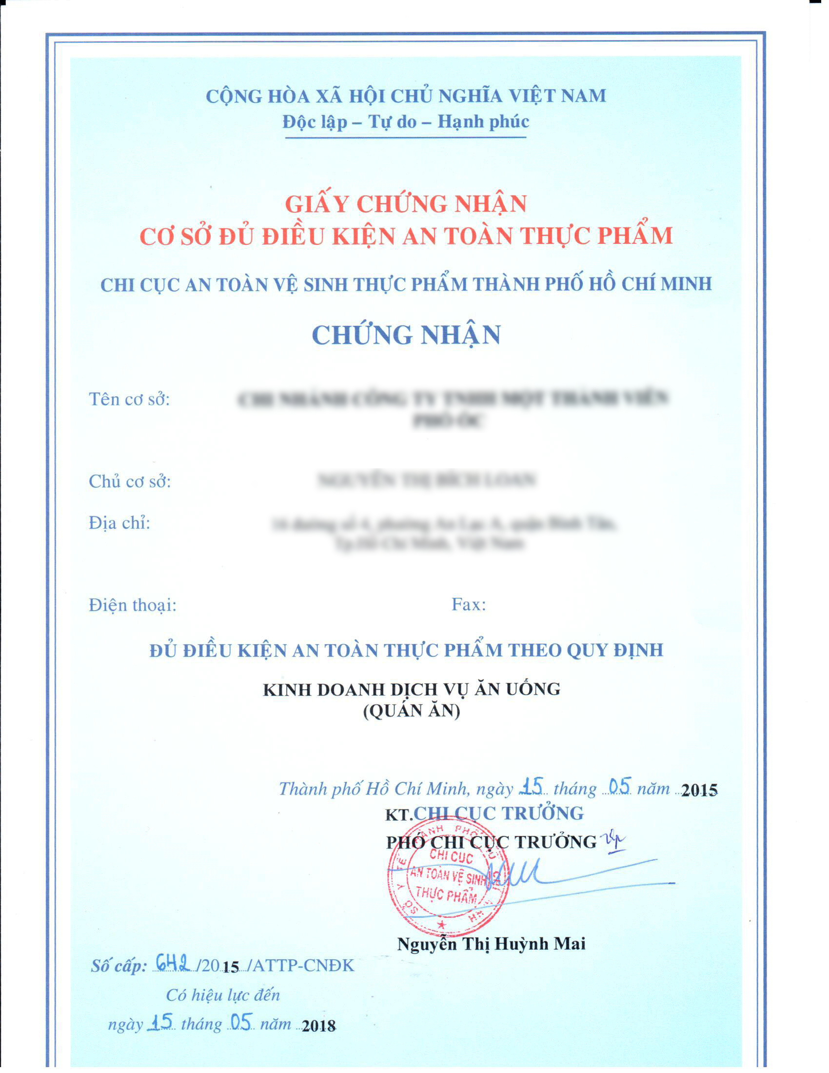 mẫu giấy chứng nhận cơ sở phù hợp quy định vệ sinh an toàn thực phẩm