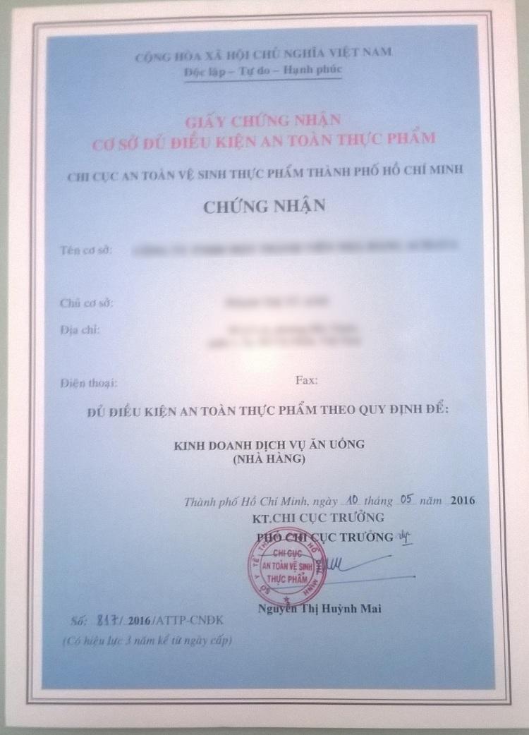 mẫu giấy chứng nhận vệ sinh an toàn thực phẩm cho nhà hàng