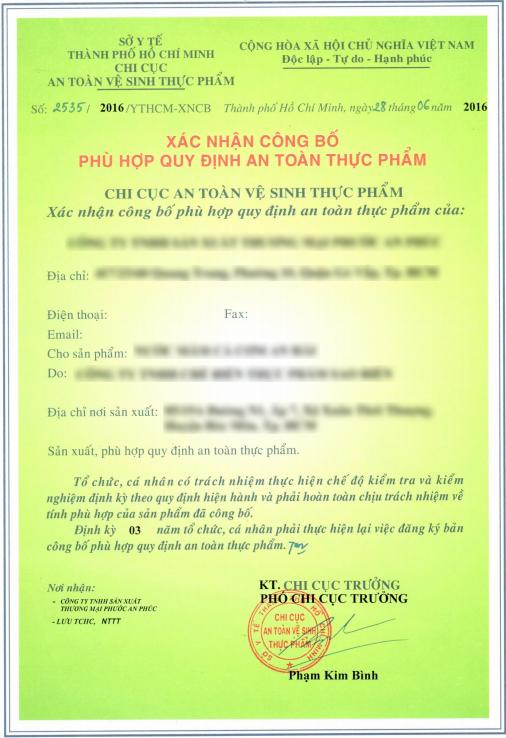 giấy chứng nhận công bố tiêu chuẩn chất lượng sản phẩm nước mắm